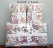 New Pottery Barn Harlowe Patchwork F/q Quilt + 2 Std Shams Set Palampore Floral