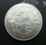 1917 George V Bare Head First Coin Half 1/2 Crown Spink 4011 Crowned Shield Cc1