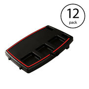 Stupid Car Tray Multi Function Food And Drink Travel Organizer, Black 12 Pack
