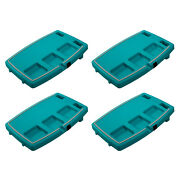 Stupid Car Tray Multi Function Food And Drink Travel Organizer, Teal/gray 4 Pack