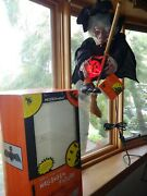 Telco Animated Flying Witch And Lgt Up Pumpkin