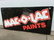 Mac-o-lac Paints Metal Embossed Advertising Sign 71-1/2 X 35-1/2