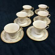 Lenox Castle Garden Set Of 6 Coffee Tea Cups And Saucers Retired Made In Usa