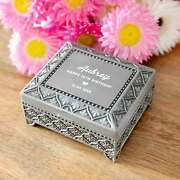 Birthday Personalised Engraved Antique Silver Ring Jewellery Box Gift Present