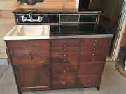 Barber Shop Sink Station Cabinet 1930s-40s Original Drawers W Knobs And Electrical