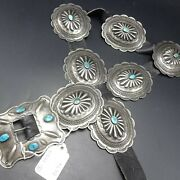 1930s Old Vintage Navajo Hand Stamped Repousse Sterling Silver Turquoise Belt