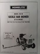 Homelite 48-sb Sickle Mower Tractor Owner Andparts Manual T 10 12 15 16s 16h Haban