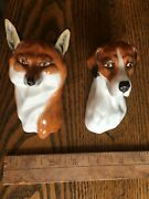 Very Rare Royal Worcester Fox And Hound Figurines 3024 By Doris Lindner