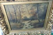 Antique Oil Painting Creek Woods Rare Ornate Framed Collectible Artwork