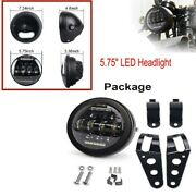 12v 5.75 Inch Retro Motorcycle Bikes 5.75 Led Headlight + Bracket Set Durable