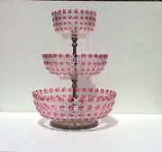 Large Early Cut Glass Cranberry To Clear 3 Tier Centerpiece