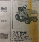 Sears Craftsman 11 Hp 4sp Lawn Tractor And 36 Deck Owner And Parts Manual 502.254280