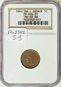 1864 L 1c Ngc Ms 63 Bn S-3 Fs-2302 Nice Repunched Date Indian Cent Variety
