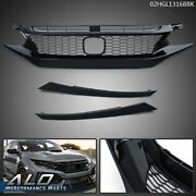 Front Bumper Hood Honeycomb Grill Black W/ Eyebrow Fit For 2019-2020 Honda Civic