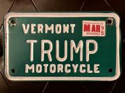 Vermont Motorcycle License Plate, Trump Real Vermont State Issued Plate 1995
