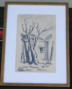 Frances Marion Truby Cronk Charcoal Drawing 11 1/2x7 1/2 Framed Under Glass