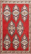 4and039x5and039 Geometric Sarouk Hand-knotted Area Rug Traditional Oriental Kitchen Carpet
