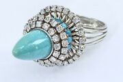 Antique Natural Diamond Persian Turquoise Ring Solid 18k White Gold See Video