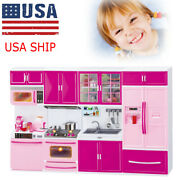 Mini Kitchen Pretend Play Cooking Set Cabinet Stove Toy For Kids Fast Ship