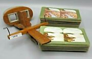 Antique Stereoscope Viewer With 80 View Cards Vintage Wood Stereo Scope Nice