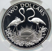1976 The Bahamas Islands Two Flamingos Vintage Proof Silver 2 Coin Ngc I85370