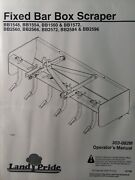 Land Pride 3-point Box Scraper Implement Bb1548 Bb2596 Bb2560 2572 Owners Manual