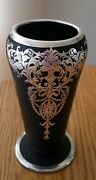 Tiffin Black Glass Sterling Overlay. Gorgeous Vase Can Also Be Used As A Lamp.
