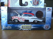 M2 1957 57 Chevy Bel Air Super Chase Pearl White Flames 1/64 Diecast 1/108 Made
