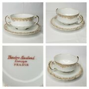 Theodore Haviland Limoges France Tea Cup And Saucer White Gold Design