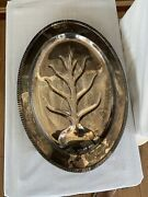 Avon William Rogers 3610 Silver Plate Meat Platter 18andrdquotree Design Footed