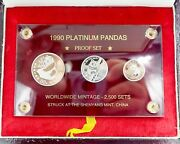 1990 Chinese Platinum Panda Proof Set With Box And Papers 1/2oz 1/4oz 1/10oz