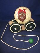 Briere Folk Art Pull Toy 1989 Woman And Cart / Cradle 101 Exc