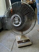 Vintage Galaxy 2 Speed Oscillating Desk Fan 12 Type 9 Style Bl-b Tested Working