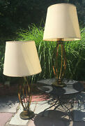 Mcm 1950and039s Pair Of Oversized Brass Cage Table Lamps Atomic Age