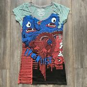 Iron Fist Cookie Monster Scoop Neck Extra Length Top Ladies T Shirt