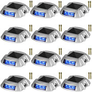 Solar Driveway Lights Dock Lights 12-pack Led Pathway Lights W/ Switch In Blue