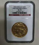 2006 American Gold Buffalo 1 Oz 50-ngc Ms70 First Strikes.9999 Fine-debut Issue