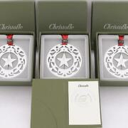 Christofle France Lot Of3 2003 Silver Plated Christmas Ornaments And Page Bookmark