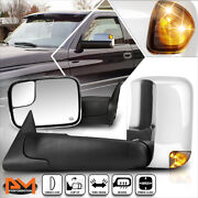 For 98-02 Dodge Ram Truck Powered+heated Chrome Towing Mirror W/smoked Led Lamp