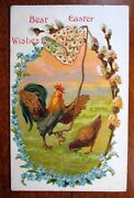 Best Easter Wishes Antique Postcard Roster Cock Ringing Flower Bell Germany 1812