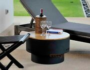 Solid Steel Circular Round Fire Pit Wooden Table Top Grill Rack Black Powdercoat