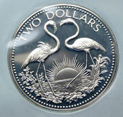 1974 The Bahamas Islands Two Flamingos Vintage Proof Silver 2 Dollar Coin I85541