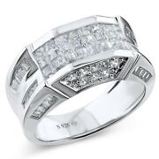 Menand039s Real Sterling Silver Cz Stones Fancy Design Ring Band Sizes 6-14 /gift Box