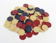 Vintage Dragon Embossed Clay Poker Chips - Red, Blue, Ivory - 80 Poker Chips