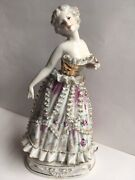 Vtg Porcelain Wales China Hand Painted Fancy Lady Ruffled Gown 8 Figurine Japan