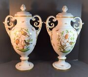 Vintage Pair Herend Porcelain Rothschild Pattern Palace Urns With Covers