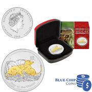 2008 1 Year Of The Mouse 1oz Silver Gilded Coin