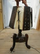Antique Wood And Iron Arts And Crafts Table Lamp W/slag Glass Lamp Shade Cabin