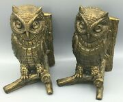 Pair Of Brass Owl's On A Tree Branch Book Ends