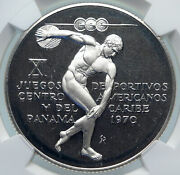 1970 Panama American Games Greek Disc Thrower Athlete Silver 5b Coin Ngc I85340